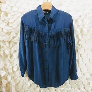 90s Capezio Midnight Blue Silk Blouse w Fringe